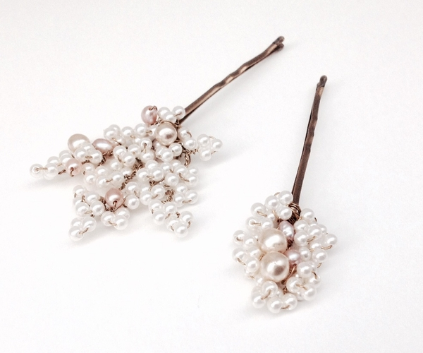 Dusky Pink Ivory Pearl Hair Pin