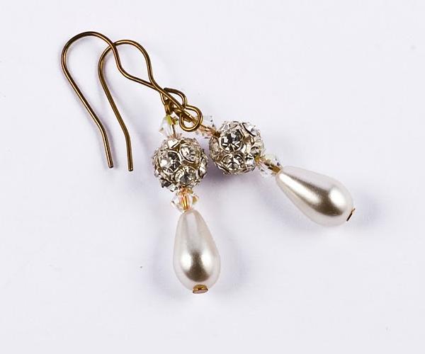 Pearl Crystal Rondelle Earrings