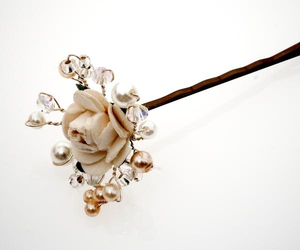 Ivory Flower Hair Pin