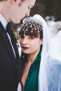 Crystal Headdress with cascade for Canadian wedding venue