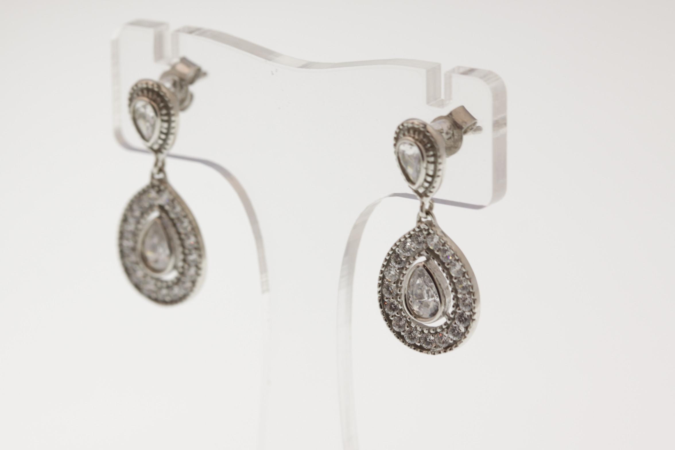 Double Pearl Cluster Drop Earrings