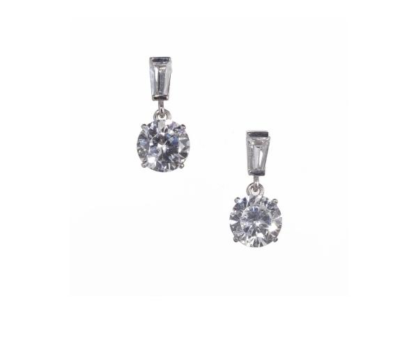 Baguette and brilliant drop earrings