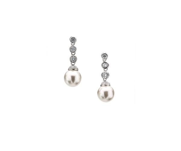 Triple Stone Round Pearl Drop Earring