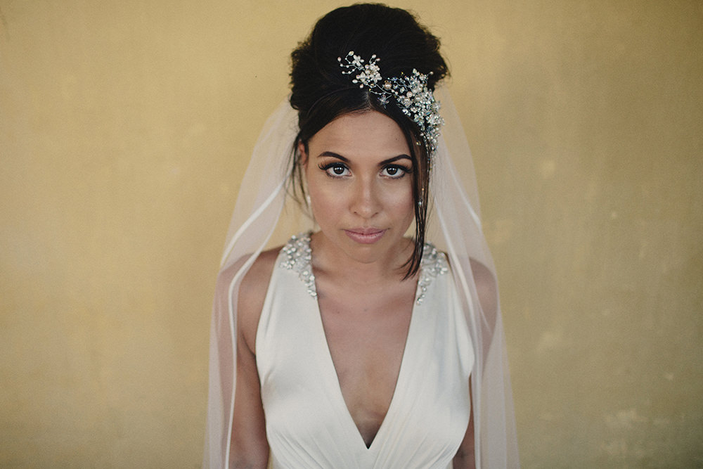 Bespoke Gillian Million Hair Accessory with Jenny Packham Gown