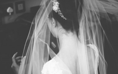 A Beautiful Bride in Gillian Million Hair Vine