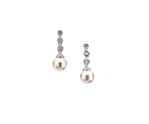 Triple Stone Round Pearl Drop Earring