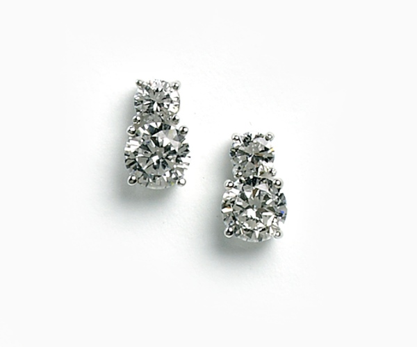 Two Stone Stud  Crystal Earring