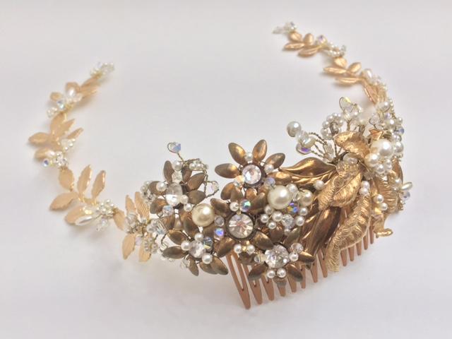 Zinnia Gold Leaf Wedding Comb