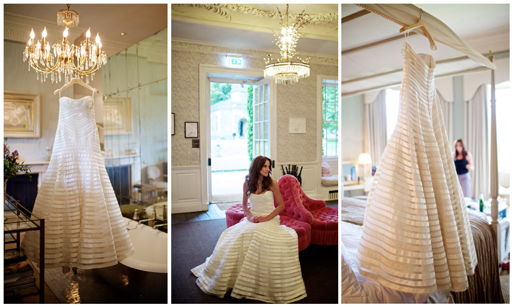 Stunning Vera Wang Victoria Gown in mint condition.It is an A-line ivory gown with alternating jacquard and duchesse bands hand sewn onto tulle. A row of silk covered buttons has been added all down the back by Vera Wang.<br>Size: 10<br>Original Price: £14,500